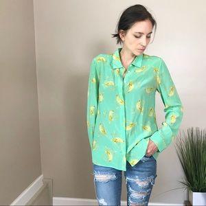 Leifsdottir Green Bird Silk Button Down Top Shirt